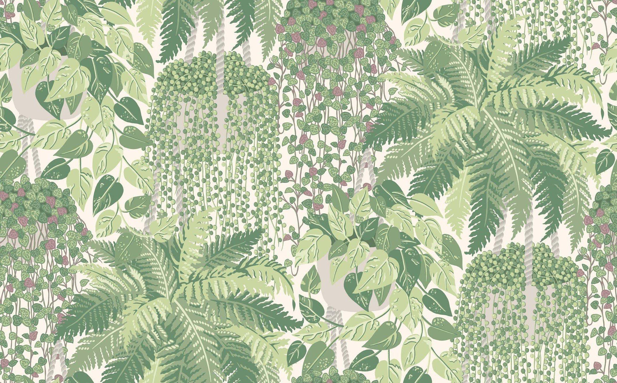 Обои зеленые листья на стену